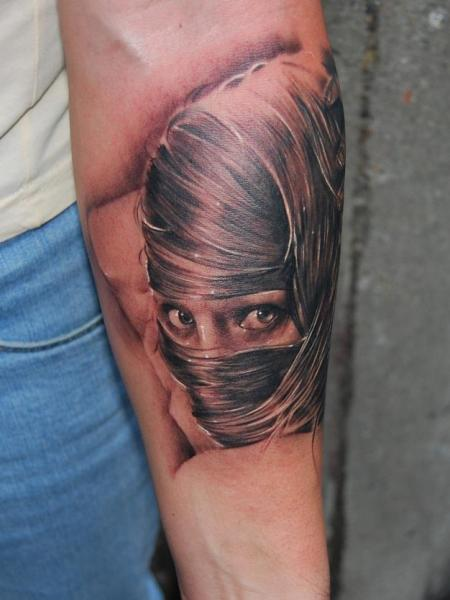 Arm Realistic Women Tattoo by Bio Art Tattoo