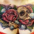 Flower Skull Breast Diamond tattoo by Requiem Body Art