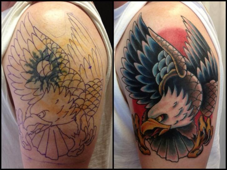 Shoulder Eagle Cover-up Tattoo by Requiem Body Art