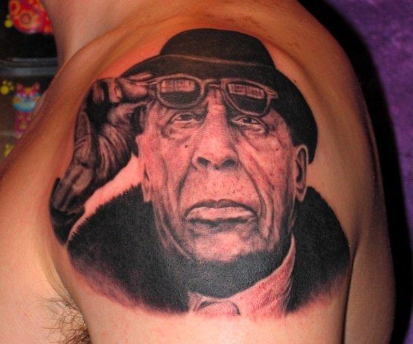 Shoulder Portrait Tattoo by Requiem Body Art