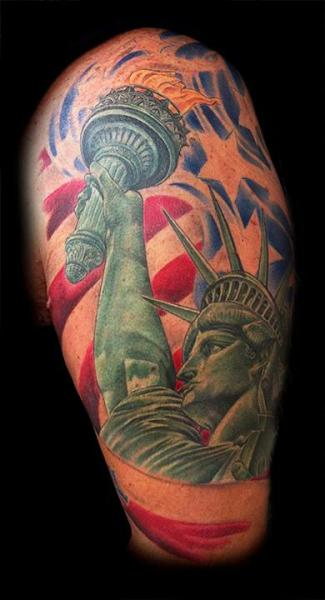 Shoulder Statue Liberty Tattoo by Requiem Body Art