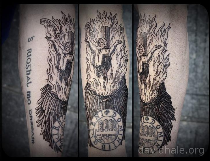 Arm Dotwork Flame Tattoo by David Hale
