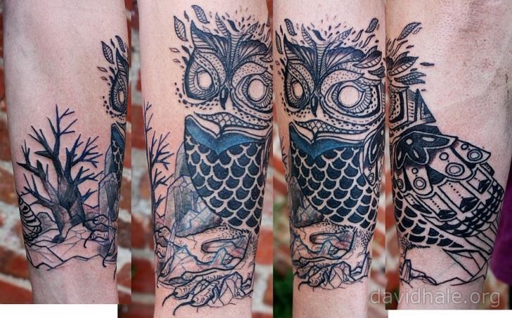 Arm Owl Tattoo by David Hale