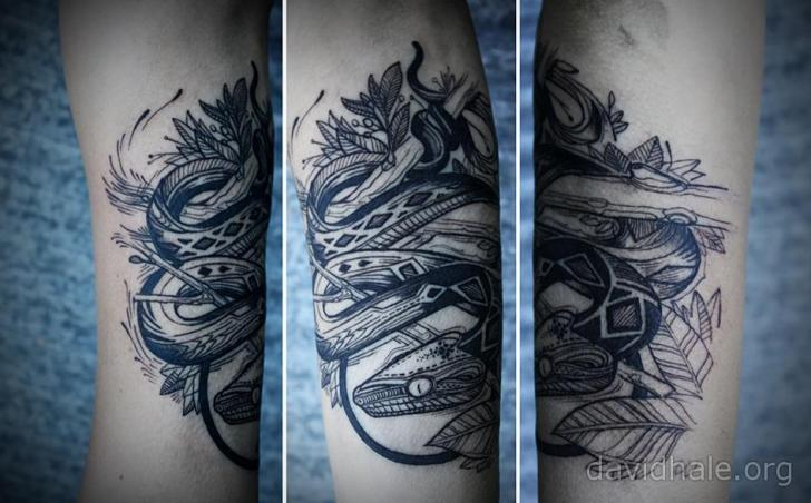 Arm Snake Tattoo by David Hale