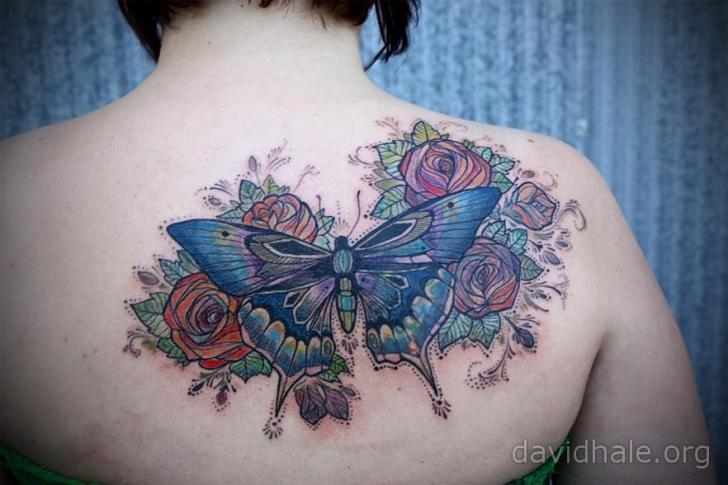 Back Butterfly Tattoo by David Hale
