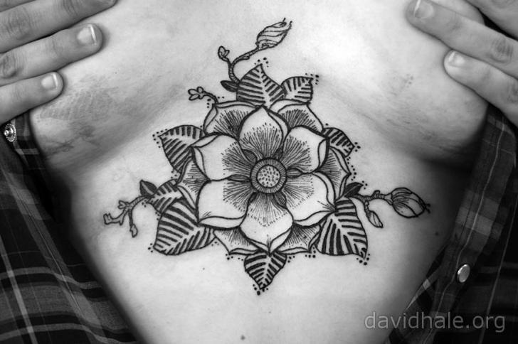 Flower Breast Tattoo by David Hale
