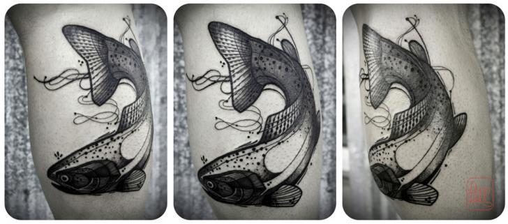 Calf Dotwork Fish Tattoo by David Hale