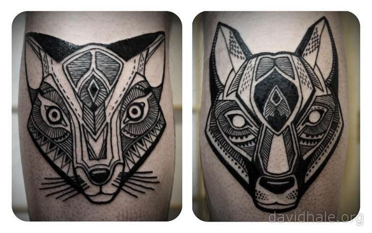 Tatuaje Perro Gato por David Hale