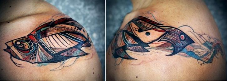 Shoulder Fish Tattoo by David Hale