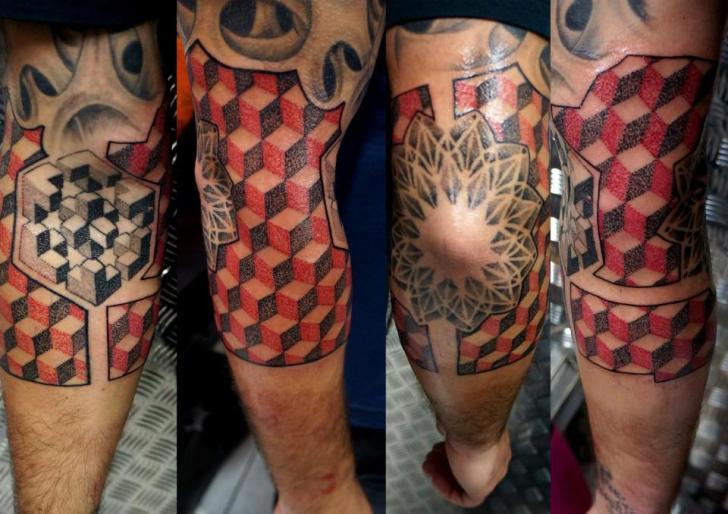 Arm Dotwork Geometric Tattoo by Proki Tattoo