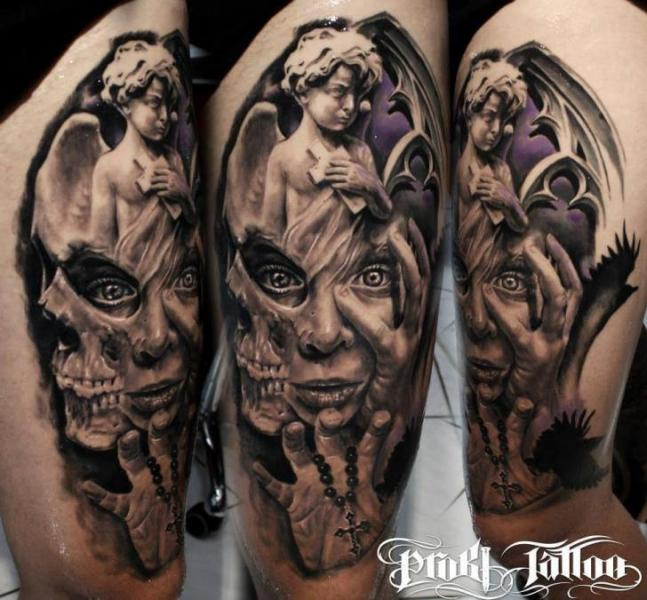 Shoulder Fantasy Tattoo by Proki Tattoo