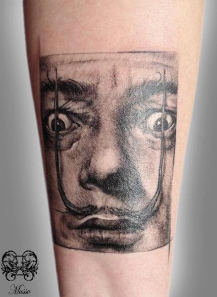 Portrait Salvador Dali Tattoo by Otzi Tattoos