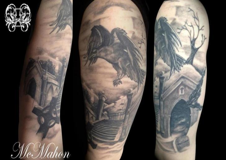 Shoulder Realistic Crow Tattoo by Otzi Tattoos