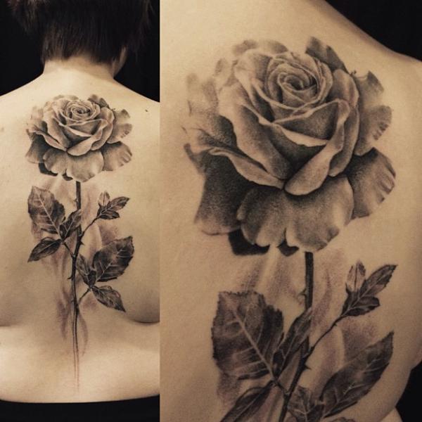 Realistic Flower Back Tattoo by Allen Tattoo