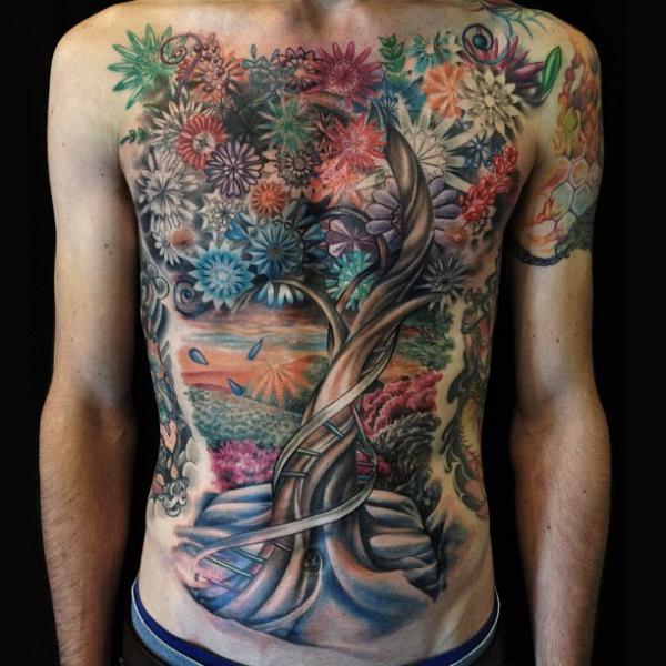 Tatuaje Fantasy Pecho Flor Vientre Árbol por Allen Tattoo
