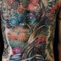 Fantasy Chest Flower Belly Tree tattoo by Allen Tattoo