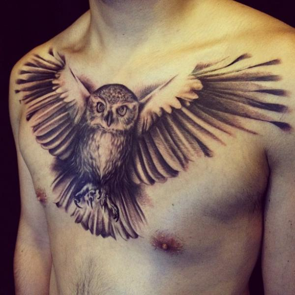 Chest Owl Tattoo by Allen Tattoo