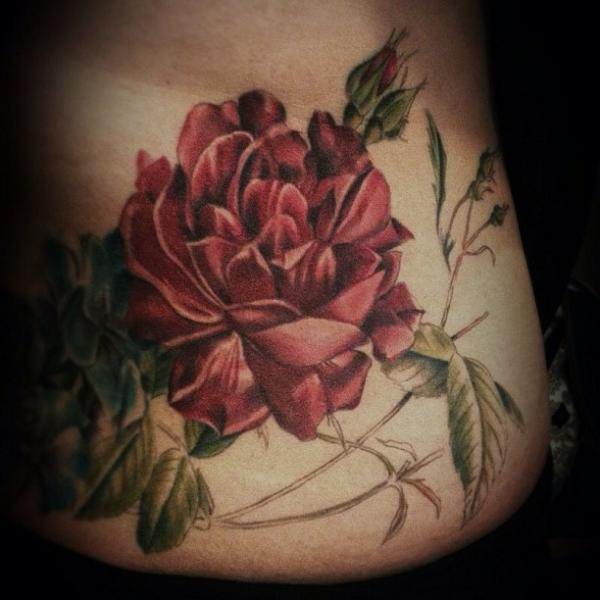 Realistic Rose Tattoo by Allen Tattoo