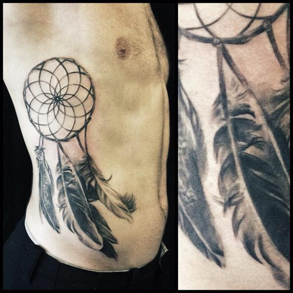 Side Dreamcatcher Tattoo by Allen Tattoo