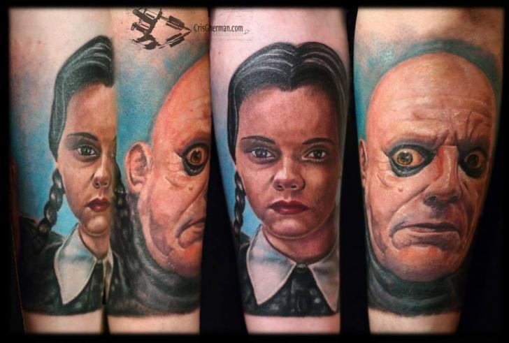Arm Fantasy Addams Tattoo by Chris Gherman