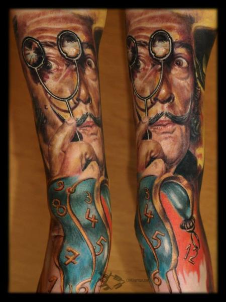 Arm Portrait Salvador Dali Tattoo by Chris Gherman