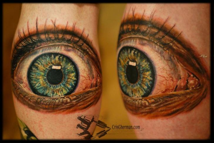 Arm Realistic Eye Tattoo by Chris Gherman