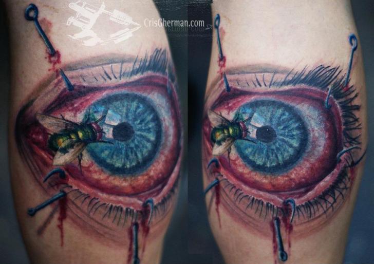 Calf Eye Fly Tattoo by Chris Gherman