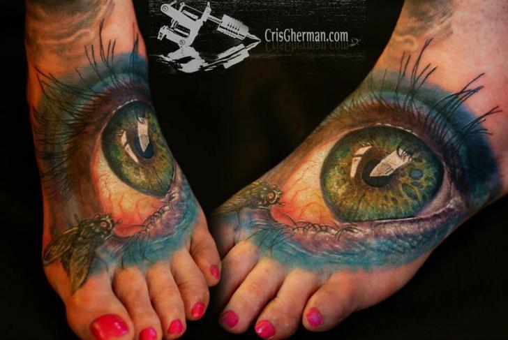 Realistische Fuß Auge Tattoo von Chris Gherman