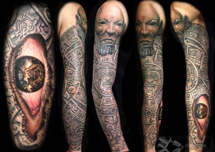 Tribal Maya Sleeve Tattoo by Chris Gherman