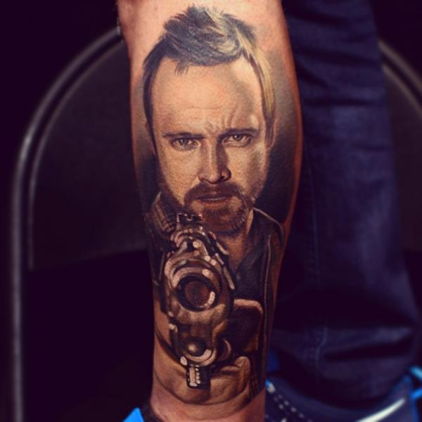 Arm Portrait Realistic Gun Jesse Pinkman Tattoo by Nikko Hurtado