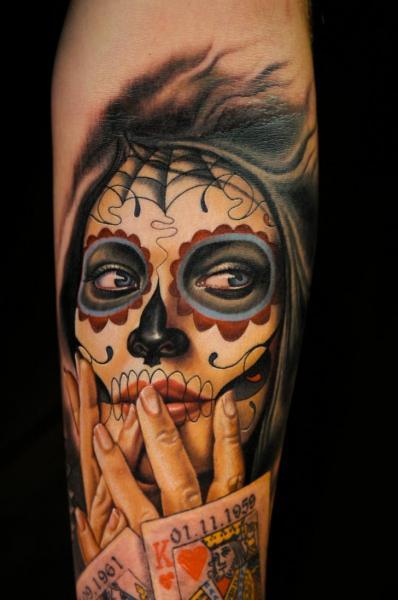 Arm Mexican Skull Tattoo by Nikko Hurtado
