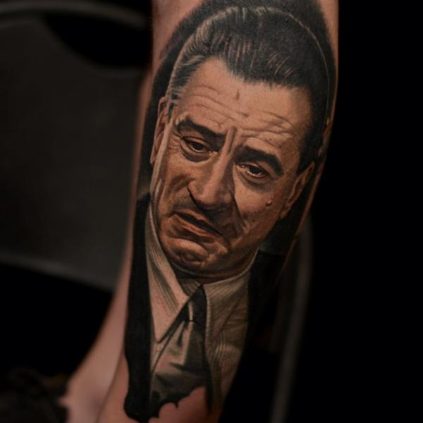 Arm Portrait Realistic De Niro Tattoo by Nikko Hurtado