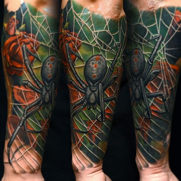 Arm Realistic Spider Web Tattoo by Nikko Hurtado
