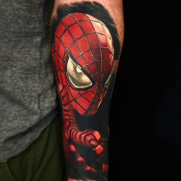 Arm Superheroes Spiderman Tattoo by Nikko Hurtado