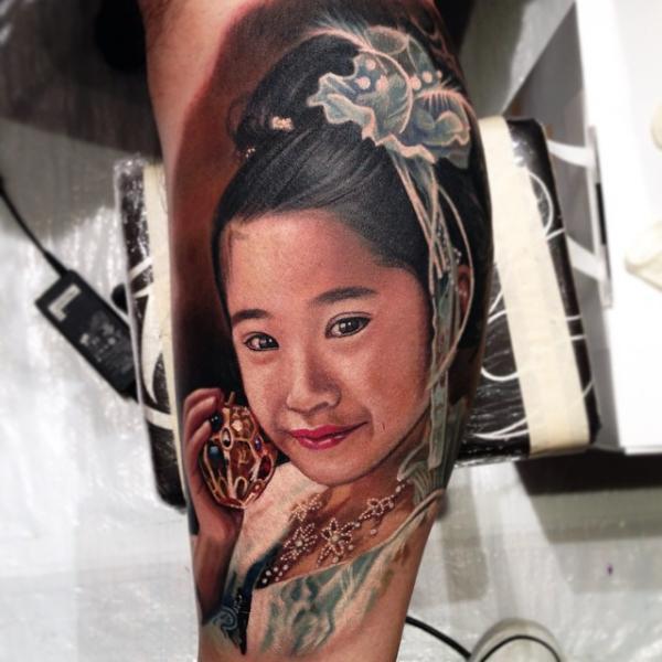 Arm Portrait Realistic Woman Tattoo by Nikko Hurtado