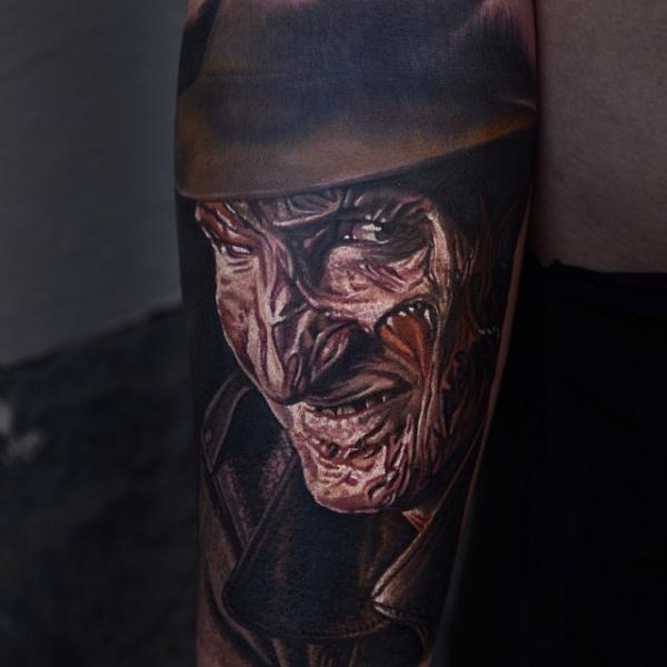 Portrait Freddy Krueger Tattoo by Nikko Hurtado