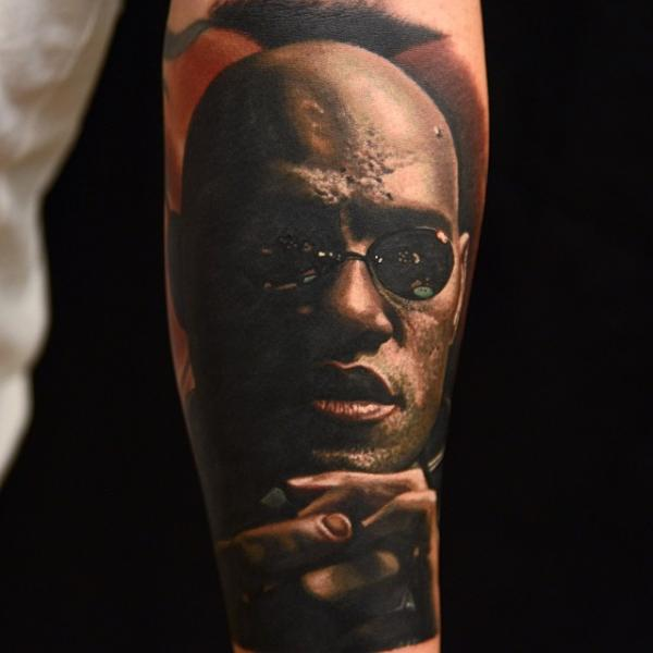 Portrait Realistic Morpheus Matrix Tattoo by Nikko Hurtado
