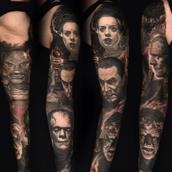 Drakula Frankenstein Monster Sleeve Tattoo von Nikko Hurtado