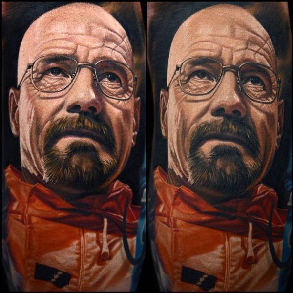 Portrait Realistic Walter White Tattoo by Nikko Hurtado