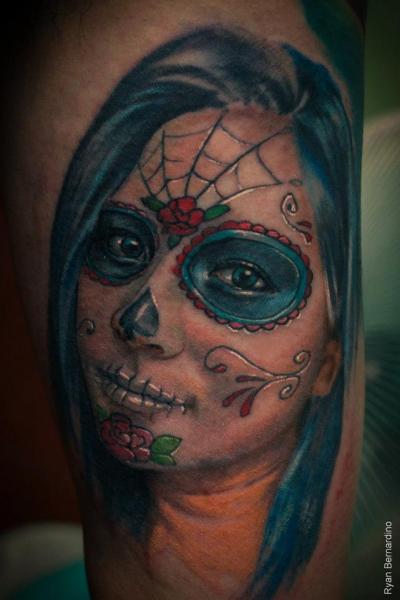 mexikanischer totenkopf tattoo von ryan bernardino