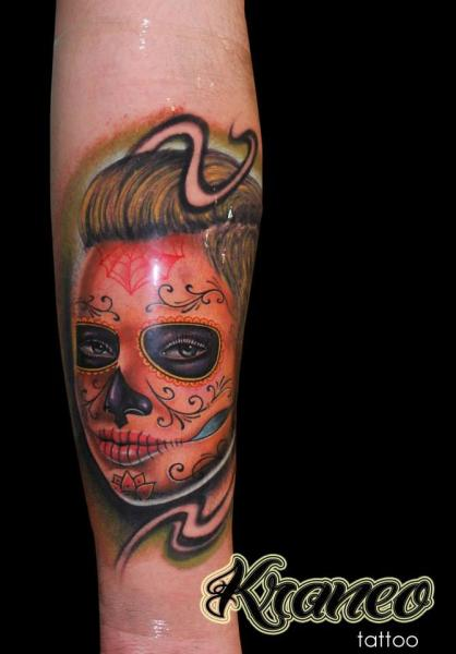 Arm Mexican Skull Tattoo by Face Tattoo