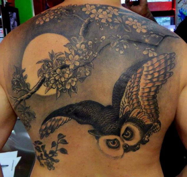 Back Owl Moon Tattoo by Face Tattoo