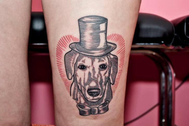 Bein Hund Dotwork Tattoo von Face Tattoo