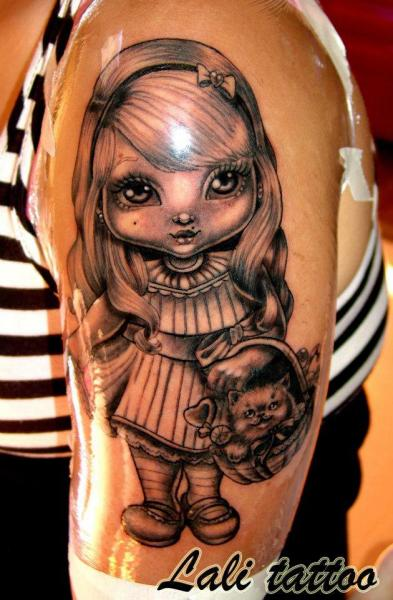 Shoulder Children Character Tattoo by Face Tattoo