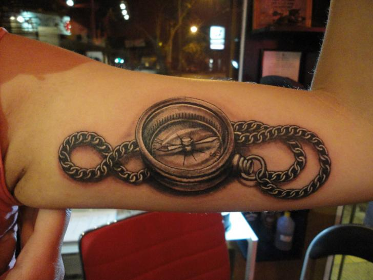 Arm Realistic Compass 3d Tattoo by La Florida Ink