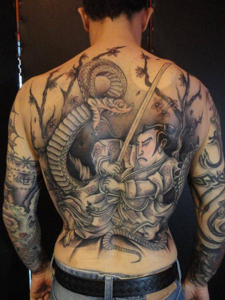 Tatuaje Brazo Japoneses Espalda Samurai por La Florida Ink