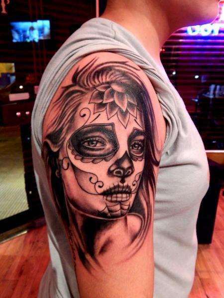 Shoulder Mexican Skull Tattoo by La Florida Ink