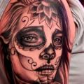 Shoulder Mexican Skull tattoo by La Florida Ink