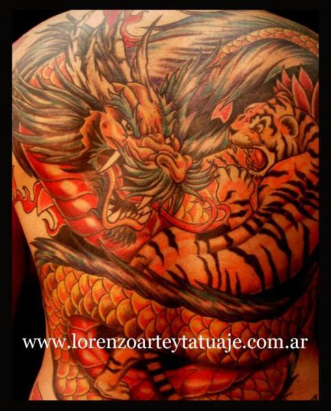 Japanese Back Tiger Dragon Tattoo by Lorenzo Arte Y Tatuaje