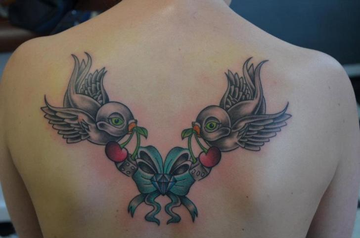 Swallow Back Tattoo by Freaky Colours